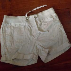White drawstring girls shorts